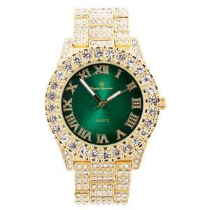 Bling-ed Out Round Watch - ST10327Roman Gold/Green